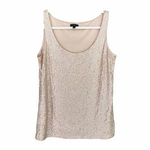 Talbots Peach Champagne Full Sequin Tank Top Small